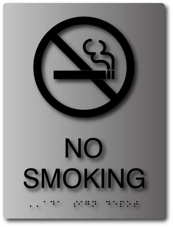 No Smoking Symbol ADA Sign with Braille in Brushed Aluminum