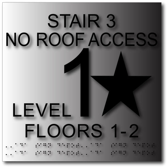 "BAL-1097 Stairwell Floor Level Signs - 12"" x 12"" - Brushed Aluminum - Black"