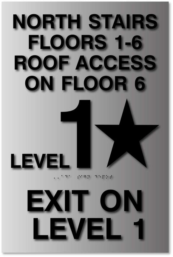 "BAL-1098 Stairwell Floor Level Sign - 12"" x 18"" - Brushed Aluminum - Black"