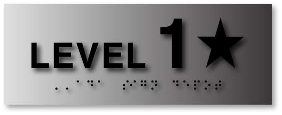 BAL-1099 Stairwell Floor Level Number Signs in Brushed Aluminum - Black