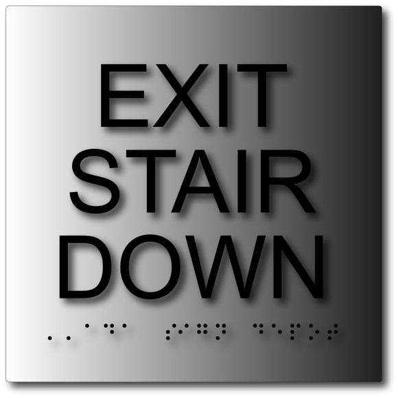 BAL-1100 Exit Stair Down Sign in Brushed Aluminum - Black