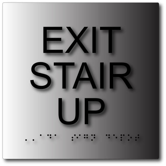 BAL-1101 Exit Stair Up Sign in Brushed Aluminum - Black