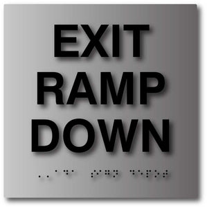 BAL-1102 Exit Ramp Down Sign in Brushed Aluminum - Black