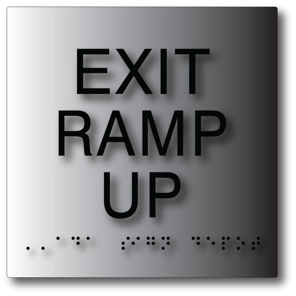Exit Ramp Up ADA Sign in Brushed Aluminum with Braille