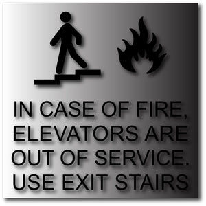 In Case of Fire Signs in Brushed Aluminum