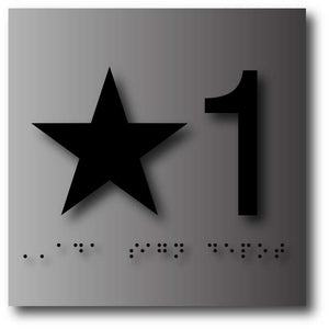 "BAL-1105 Elevator Floor Number Signs - 4"" x 4"" - Black Numbers on Brushed Aluminum"
