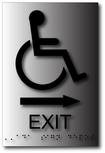 Wheelchair Exit Sign with Direction Arrow in Brushed Aluminum