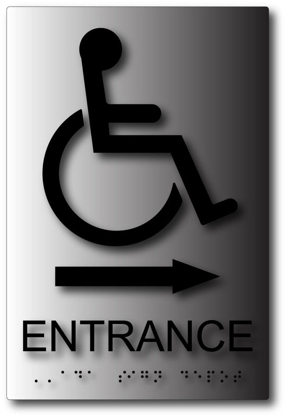 Wheelchair Symbol Entrance Sign with Arrow on Brushed Aluminum