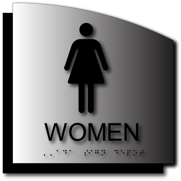 BAL-1019 Women's Restroom ADA Sign in Brushed Aluminum with Back Plate Black