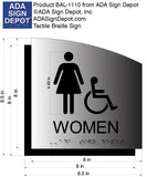Womens ADA Restroom Sign - Brushed Aluminum & Acrylic Backer 8.5 x 8.5 thumbnail