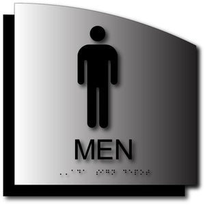 Men's Bathroom Sign in Brushed Aluminum with Back Plate and Radius Curve