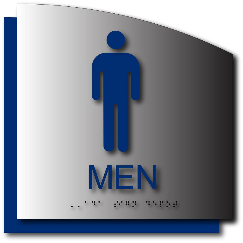 Blue mens bathroom sign Funny Mens Restroom Sign In Brushed Aluminum With Radius Cut Back Plate Ada Sign Depot Ada Sign Depot Mens Restroom Sign In Brushed Aluminum With Radius Cut Back Plate