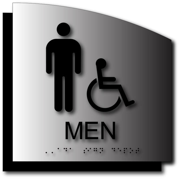 BAL-1112 Men's Wheelchair Accessible Bathroom ADA Sign in Brushed Aluminum - Black