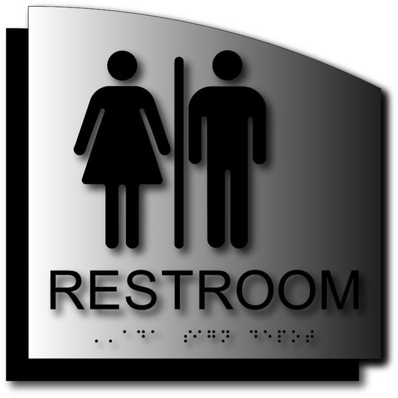 BAL-1113 Unisex Restroom ADA Sign - Brushed Aluminum with Radius Cut Back Plate - Black