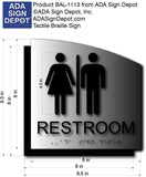 "Unisex Restroom Sign - Brushed Aluminum & Acrylic Backer 8.5"" x 8.5"" thumbnail"