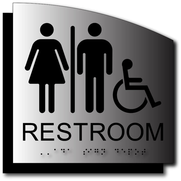 BAL-1114 Unisex Wheelchair Bathroom Sign on Brushed Aluminum - Black
