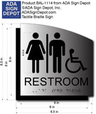 Unisex Wheelchair Restroom ADA Signs - Brushed Aluminum/Backer 8.5x8.5 thumbnail