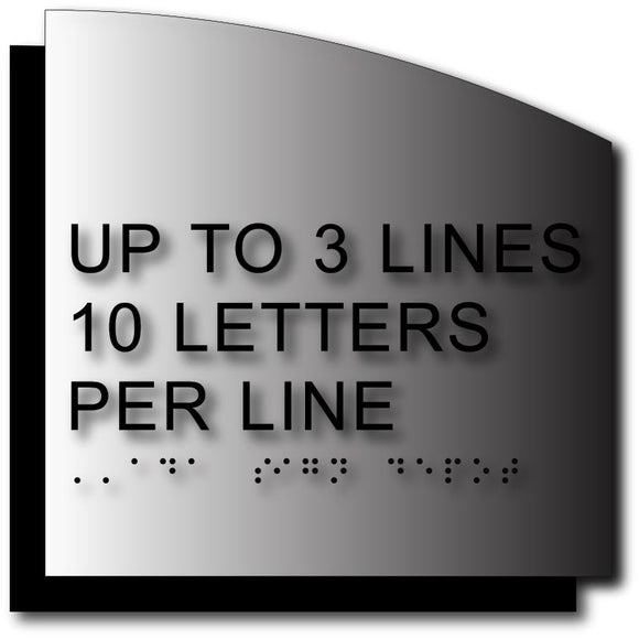 BAL-1115 Custom ADA Compliant Tactile Letter Signs - Curve-Cut Brushed Aluminum - Black