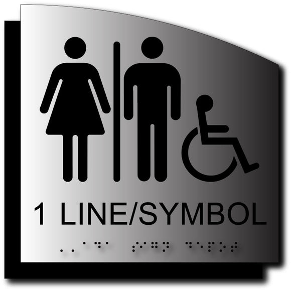 BAL-1116 Custom ADA Signs - Text, Braille, Symbols - Curved Brushed Aluminum - Black