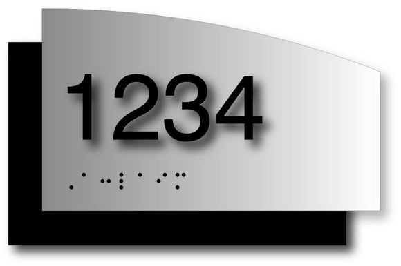 Custom ADA Room Number Signs on Curved Brushed Aluminum and Back Plate