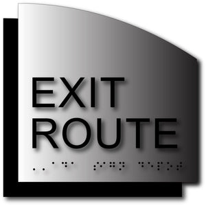 ADA Exit Route Sign in Brushed Aluminum with Radius Cut Back Plate