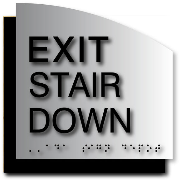 BAL-1120 Exit Stair Down ADA Sign in Black