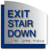 Exit Stair Down Sign - Brushed Aluminum & Acrylic Backer - 6.5 x 6.5 thumbnail