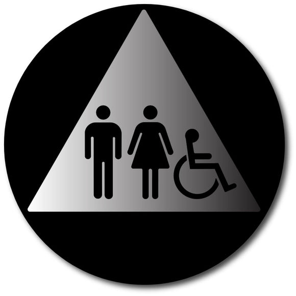 BAL-1121 Gender Neutral Wheelchair Restroom Door Sign Black