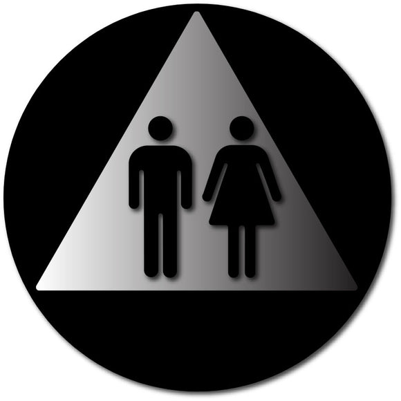 BAL-1122 ADA and California Title 24 Compliant Unisex Bathroom Door Sign - Black