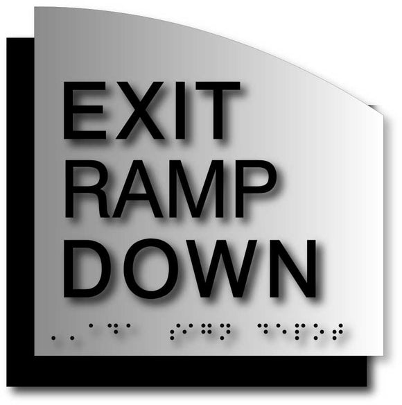 BAL-1124 Exit Ramp Down Signs in Brushed Aluminum with Curved Back Plate - Black
