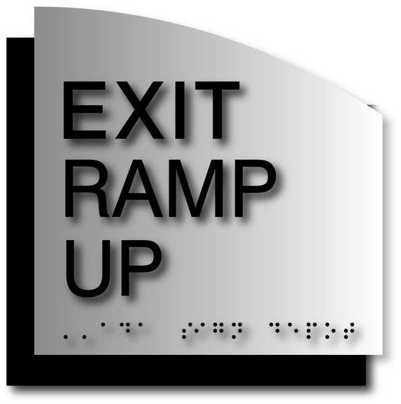Exit Ramp Up ADA Signs in Brushed Aluminum with Curved Back Plate