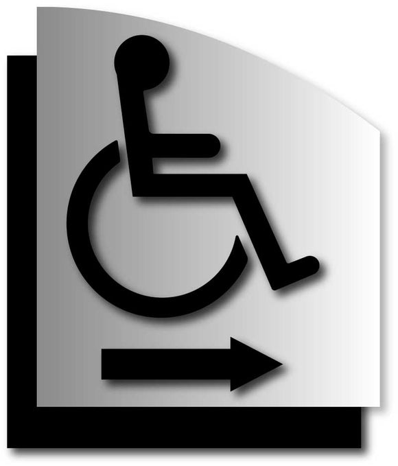 BAL-1127 Wheelchair Symbol ADA Signs with Direction Arrow on Brushed Aluminum - Black