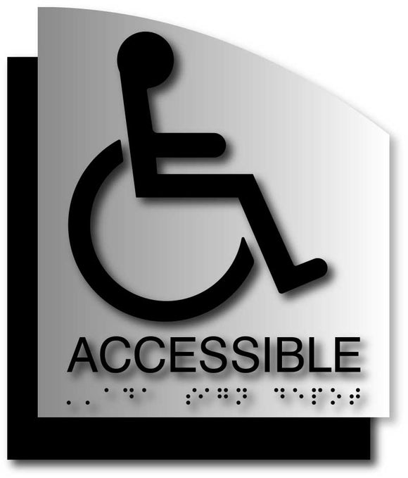 BAL-1128 Wheelchair Accessible Signs on Brushed Aluminum with Curved Back Plate - Black