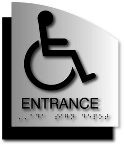 BAL-1137 Wheelchair Entrance Signs on Brushed Aluminum with Curved Back Plate - Black