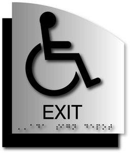 Wheelchair Exit ADA Signs in Brushed Aluminum with Curved Back Plate