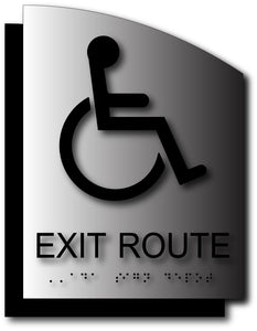 Wheelchair Symbol Exit Route Signs on Brushed Aluminum and Back Plate