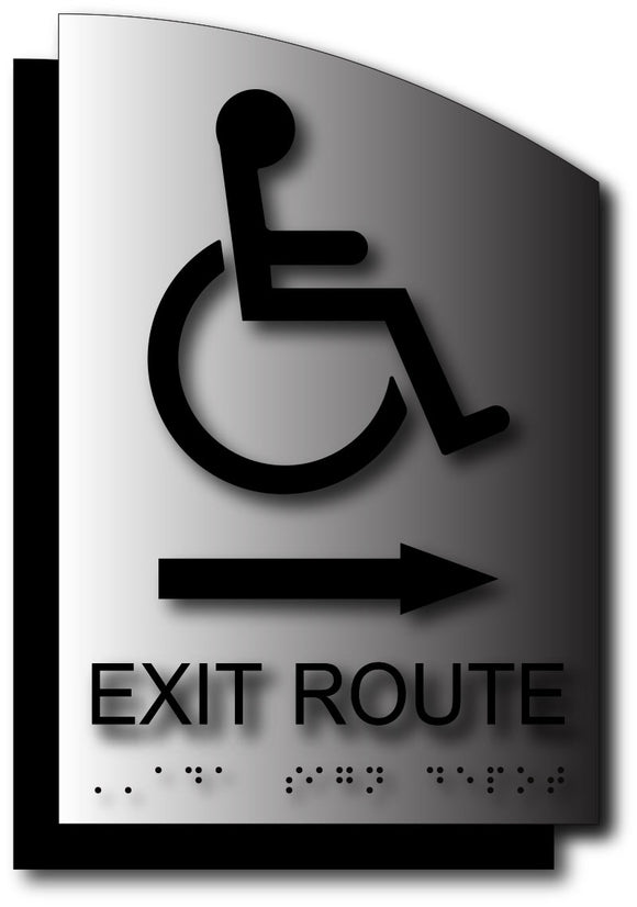 Wheelchair Exit Route Sign with Direction Arrow on Brushed Aluminum