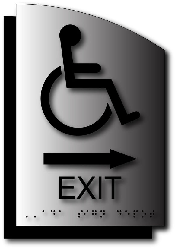 Wheelchair Exit Sign with Direction Arrow on Curved Brushed Aluminum