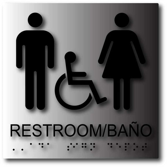 BAL-1142 Bilingual Unisex Wheelchair Accessible Restroom Baño ADA Signs - Black