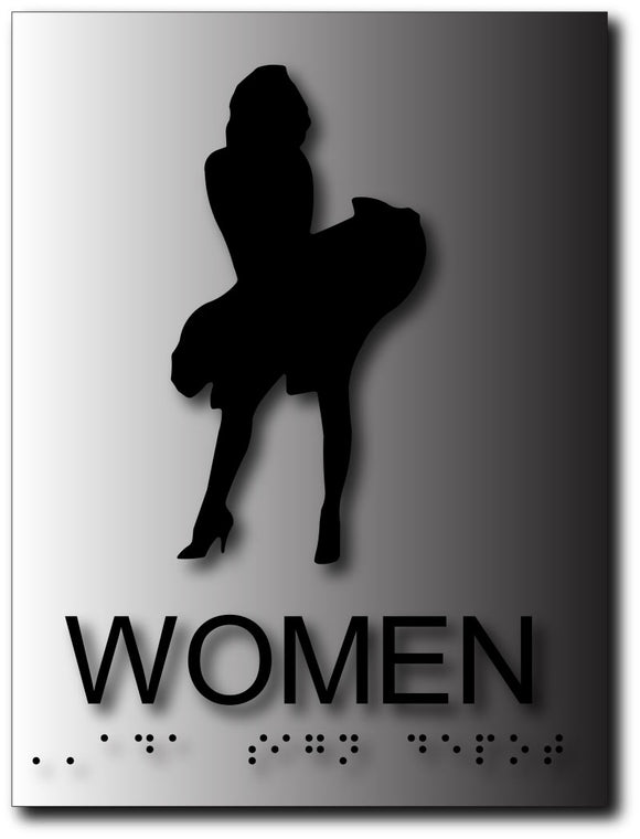 BAL-1143 Marilyn Monroe Restroom Signs in Brushed Aluminum Black