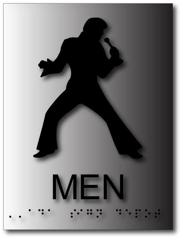 BAL-1145 Elvis Presley Mens Bathroom Sign in Brushed Aluminum - Black