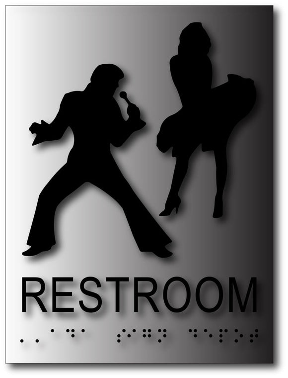 BAL-1147 Elvis Presley and Marilyn Monroe Restroom Signs Black on Brushed Aluminum