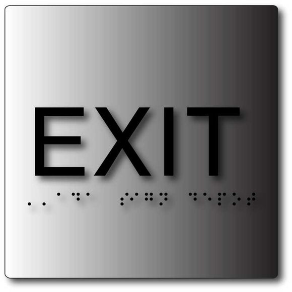 BAL-1156 Exit ADA Sign in Brushed Aluminum - Black