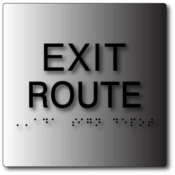 BAL-1157 ADA Exit Route Sign in Brushed Aluminum - Black