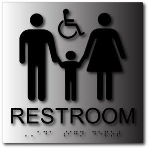 BAL-1161 Family and Wheelchair Accessible Unisex Restroom Sign in Brushed Aluminum Black