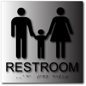 BAL-1162 Family Unisex Bathroom ADA Signs in Brushed Aluminum Black