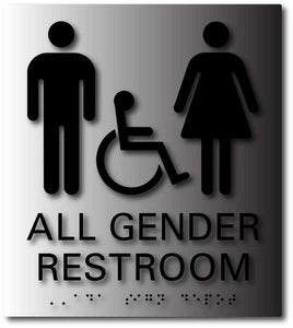 BAL-1166 All Gender Wheelchair Accessible Restroom Signs Black on Brushed Aluminum