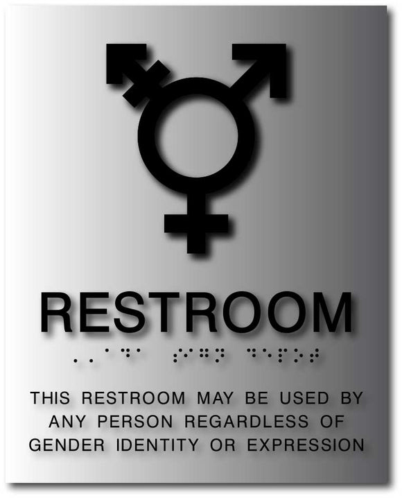BAL-1168 Trans/All Gender Symbol Restroom Sign Black on Brushed Aluminum