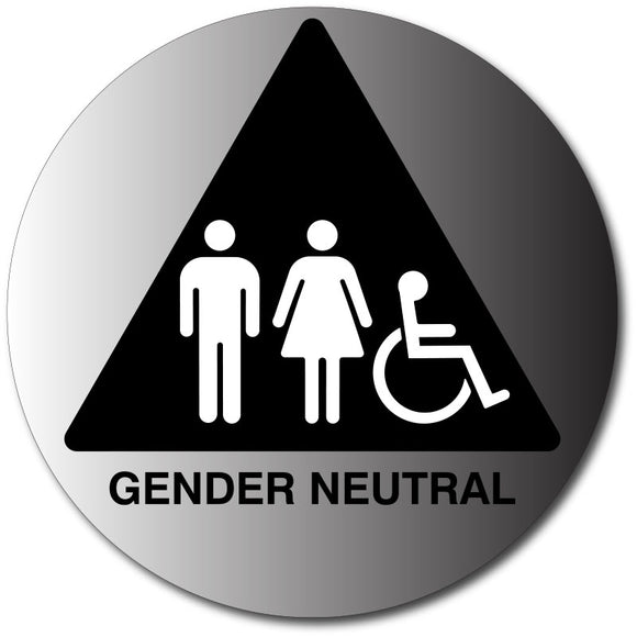 Gender Neutral Restroom Door Sign in Brushed Aluminum