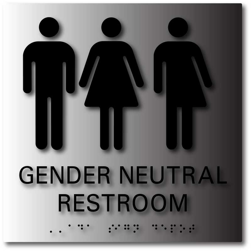 Gender Neutral Symbols Restroom Signs With Braille Ada